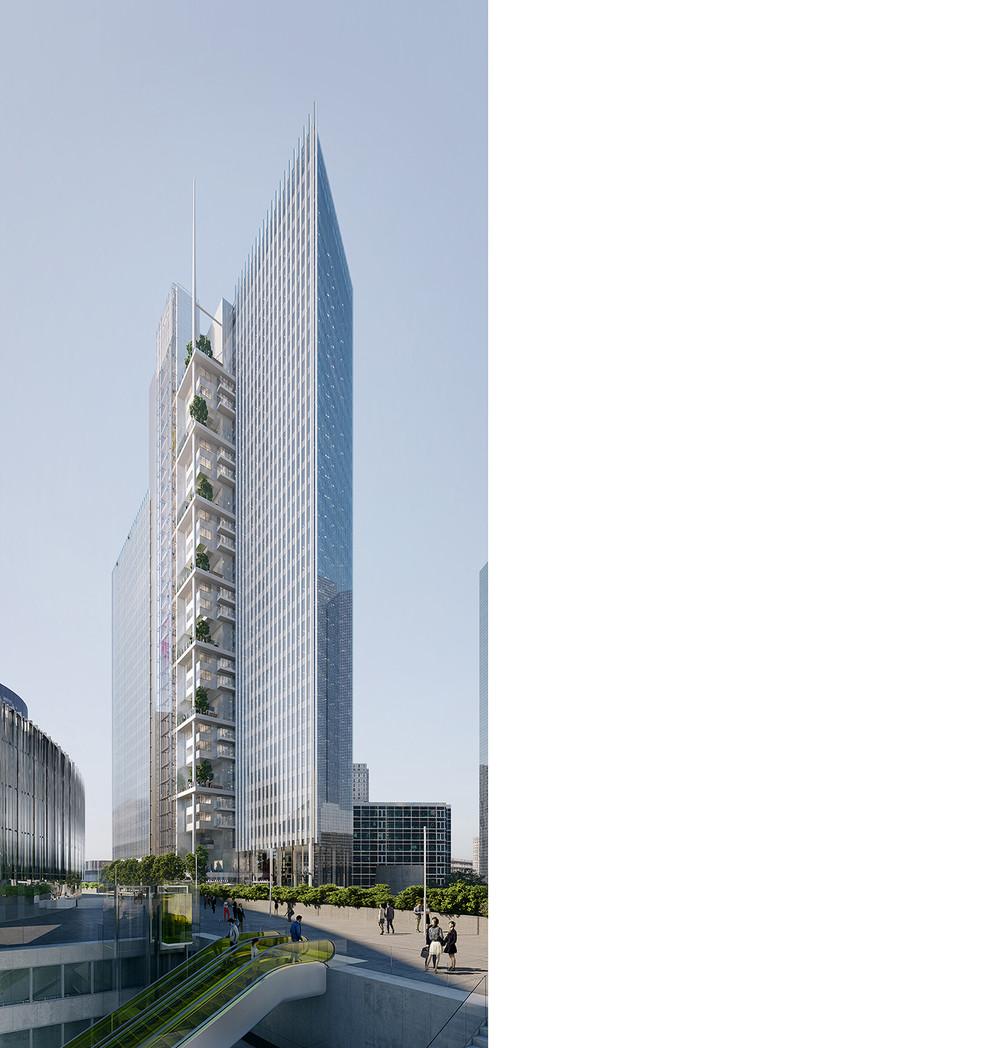 À La Défense, la tour Trinity prend racine au-dessus des voitures - © Cro&Co