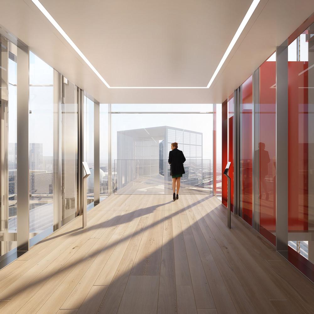 La Défense : premiers ascenseurs panoramiques dans une tour de bureau - © Cro&Co